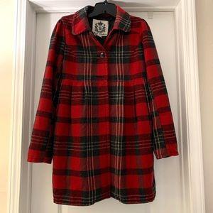 Red plaid pea coat